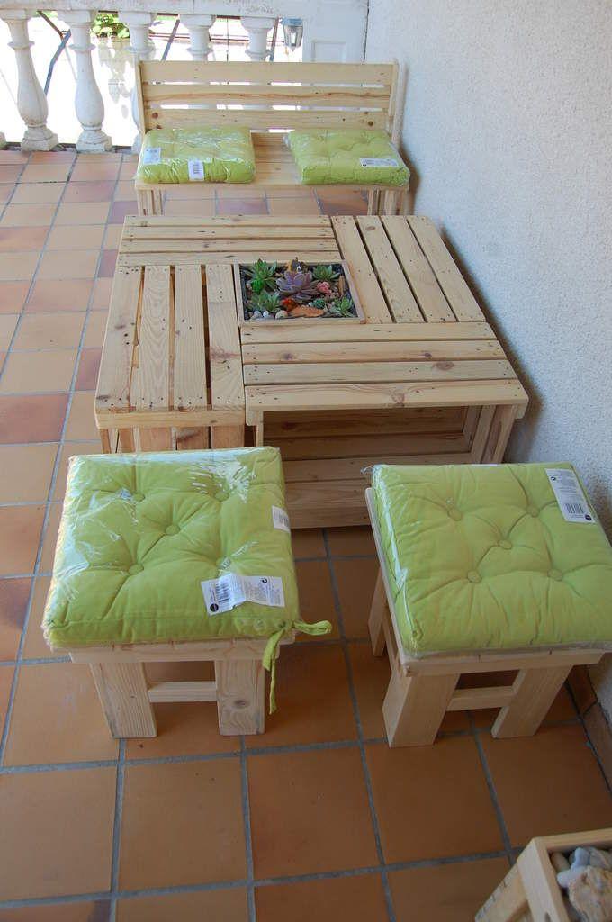 SALON DE JARDIN 10 ELEMENTS TOUT EN BOIS DE PALETTE | meubles en ...