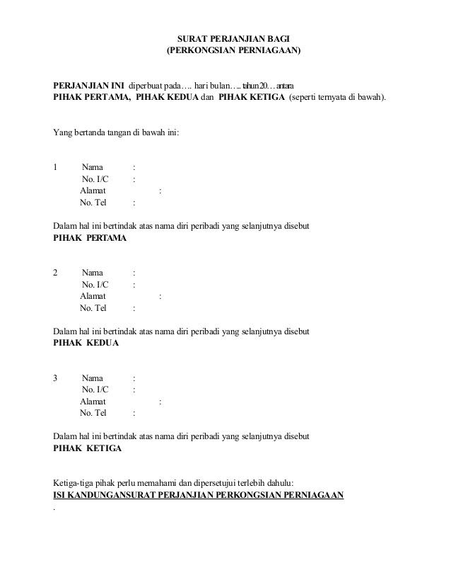 Surat Perjanjian Perkongsian Surat Berat