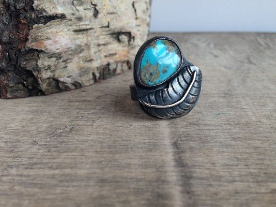 Feather Ring // Turquoise Moult Ring // by BearandtheAdelaide