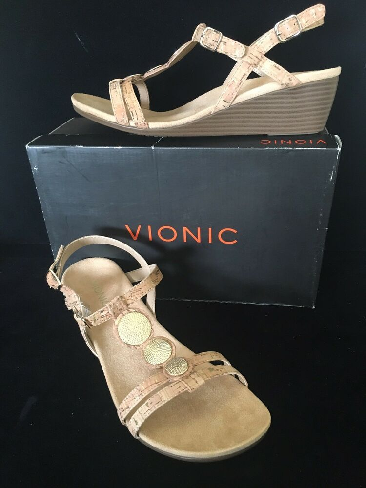 27d915d32e1d2 Vionic Womens Park Noleen Size 9.5 M T-Strap Wedge Sandals Gold Cork New   123