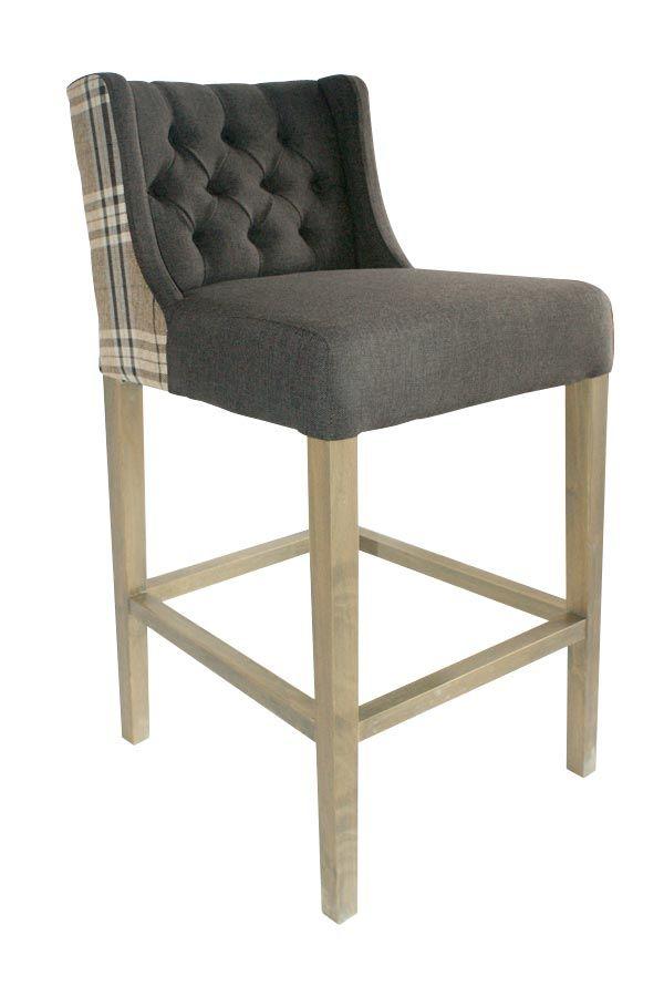 Imágenes del taburete tapizado gris Lara   muebles de tapizado ...