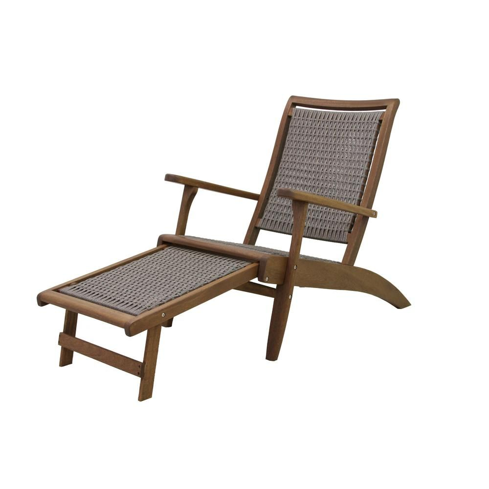 Outdoor Interiors Grey Wicker And Eucalyptus Outdoor Lounge Chair