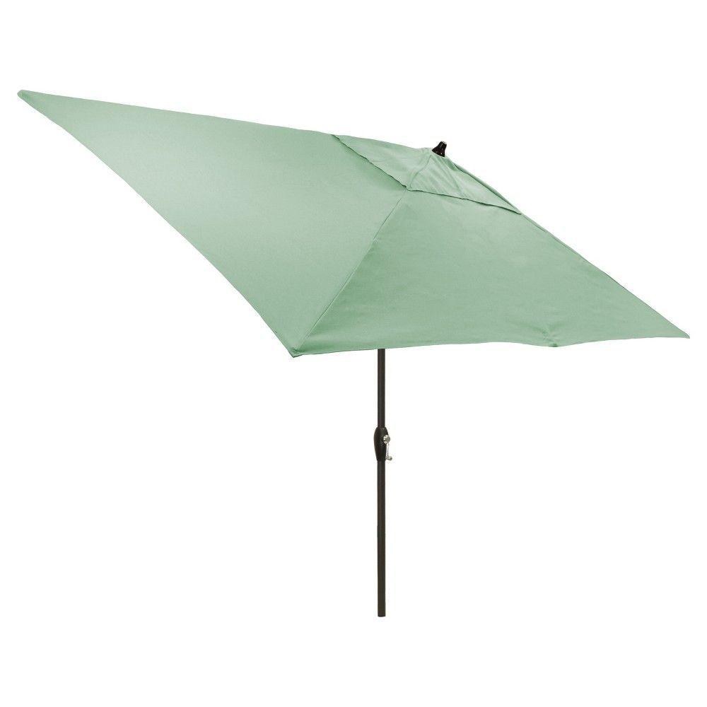 3968398cc162 6.5' x 10' Rectangular Patio Umbrella Aqua - Black Pole - Threshold ...