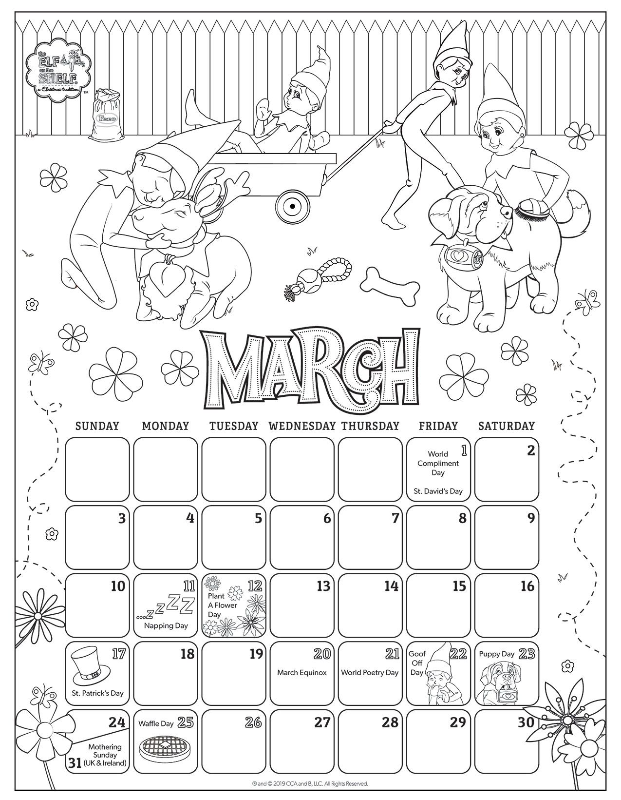 A Christmas Tradition Kids Calendar Christmas Elf Coloring Pages