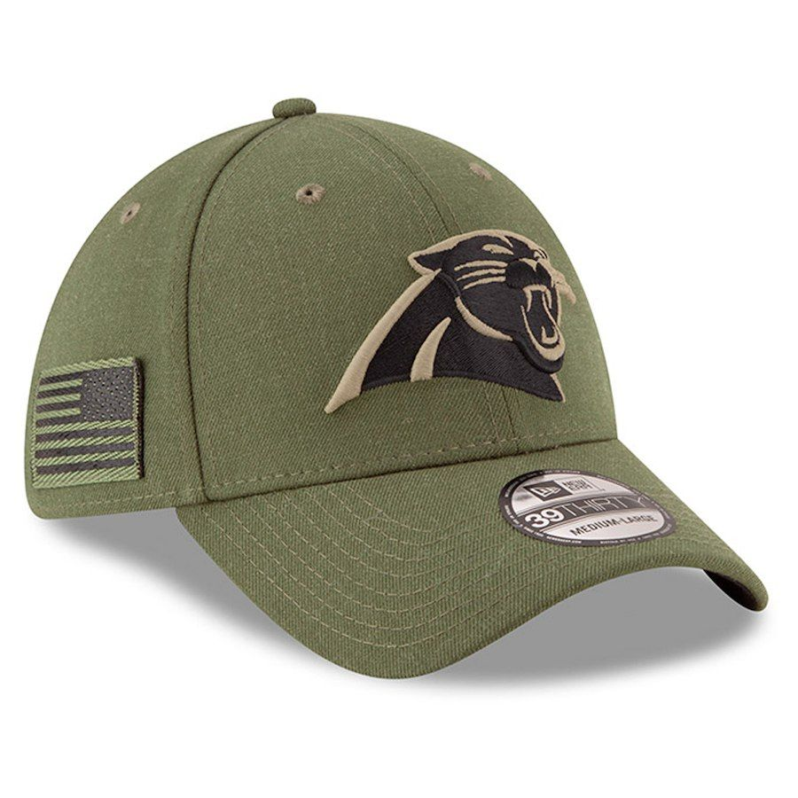 Men s Carolina Panthers New Era Olive 2018 Salute To Service Sideline  39THIRTY Flex Hat 4040fadb3