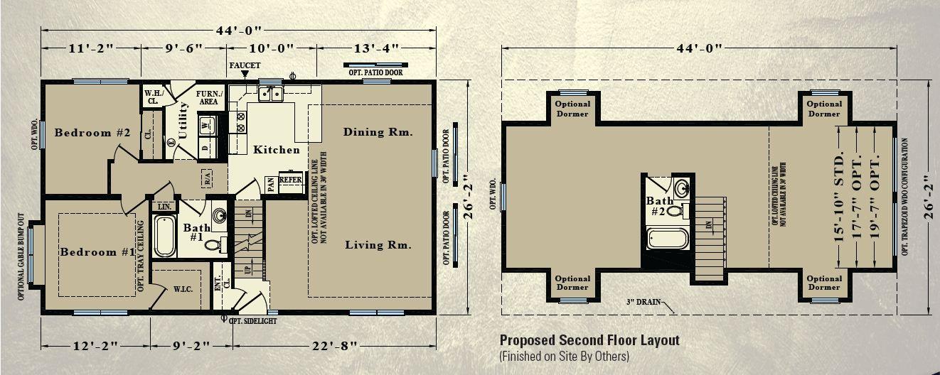 Rochester Homes - Floor Plans in Indiana | Modular Homes | Floor Plans in Indiana | Modular Homes - Cape (1151 sf first floor)