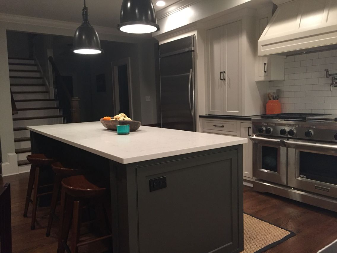 Restoration Hardware Kitchen Lighting Island Sherwin Williams Black Fox Ceasarstone London Grey