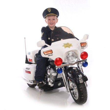 kid motorz police motorcycle 12 volt battery powered ride on walmartcom