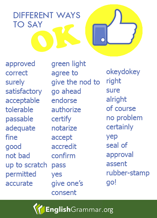 English Grammar Did We Miss Other Synonyms For Ok Let Us Know On The Comment Section English Writing English Vocabulary Learn English