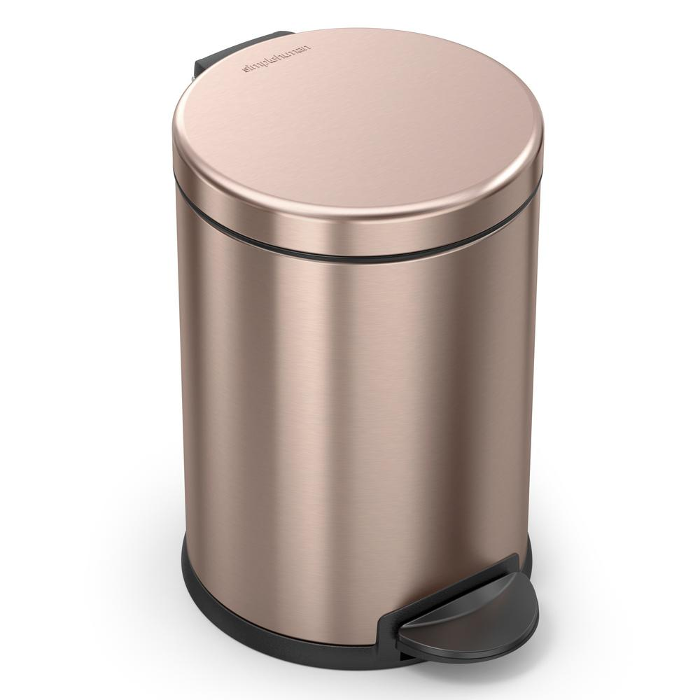 Copper Trash Can With Lid Simplehuman 1 2 Gal Round Step Trash Can In Rose Gold Stainless