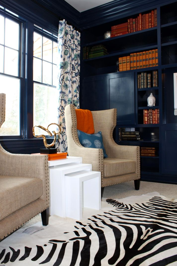 Awesome Color Blue Love The Nail Head Trimmed Canvas Upholstered Chairs Zebra Rug Orange Accents This Combo Never Would Have Thought Of It