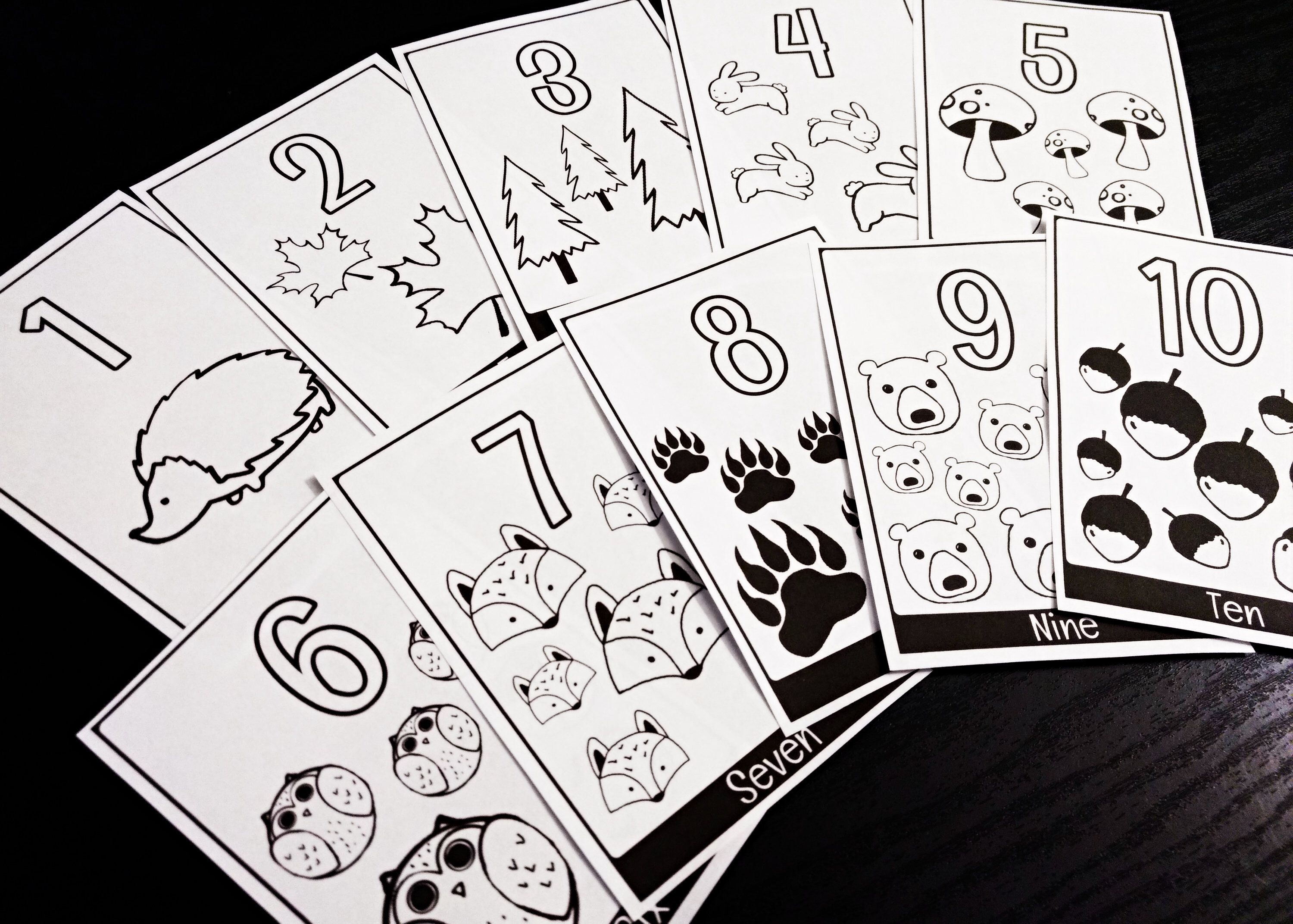 Woodland Flash Cards Printable Numbers Black And White Learning Cards Coloring Activity By Wainboughco On E Printable Numbers Learning Cards Color Activities
