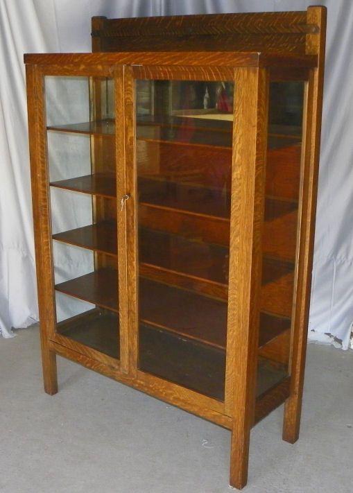 Antique Mission Oak China Cabinet Original Finish China