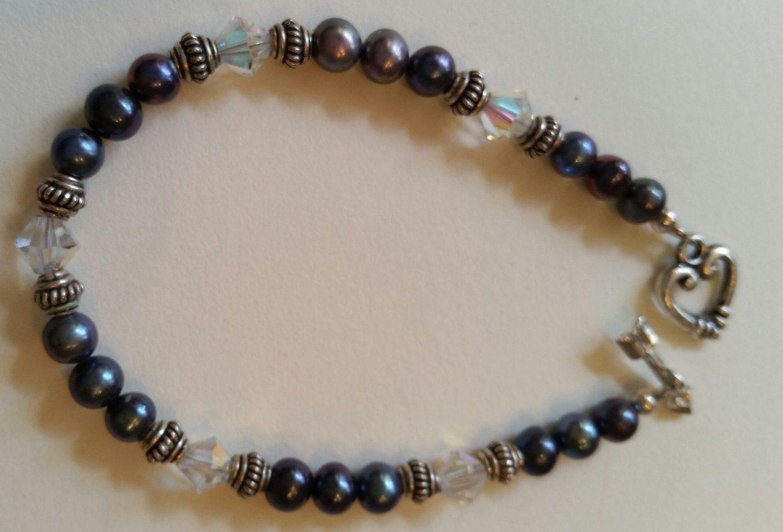 Girls bracelet/ freshwater pearls bracelet/ gray bracelet/crystal bracelet/ silver bracelet/ handmade bracelet/ Sterling Silver bracelet by Gemsareus on Etsy