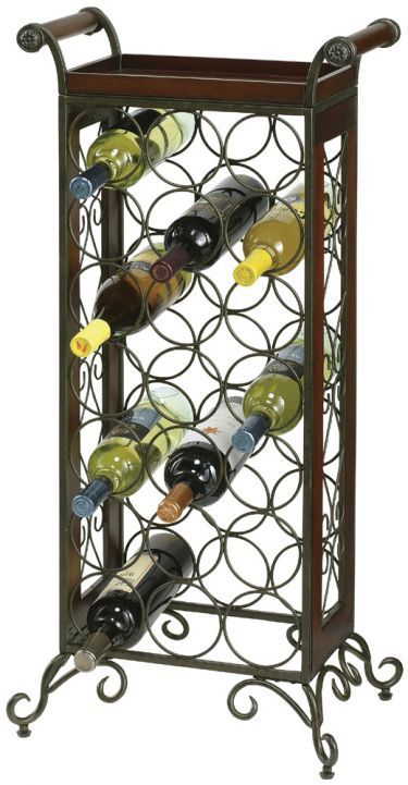 Wrought Iron Wood Floor Standing Wine Rack With Removable