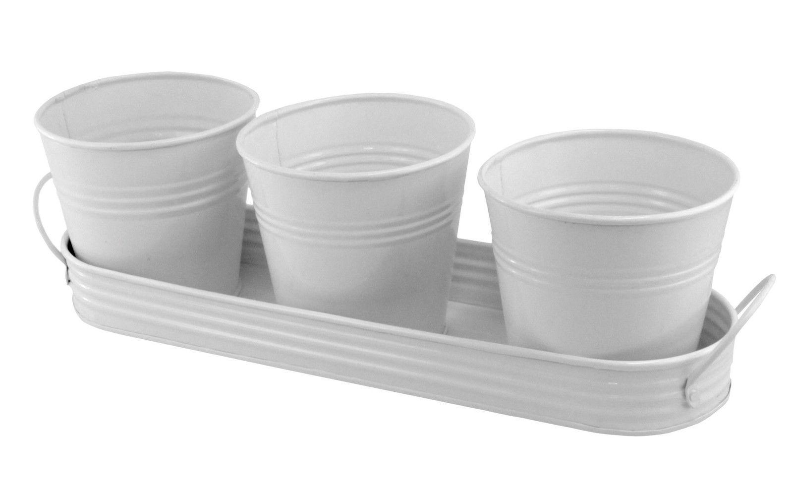 PLAID 3 Metal Planting Pots In Tray - White -   24 white garden pots ideas