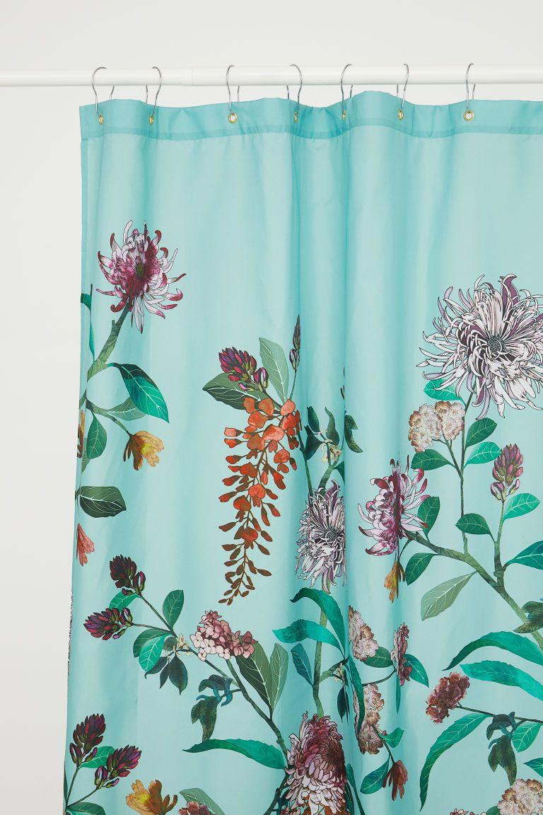 Shower Curtain Light Turquoise Floral Home All H M Us 1