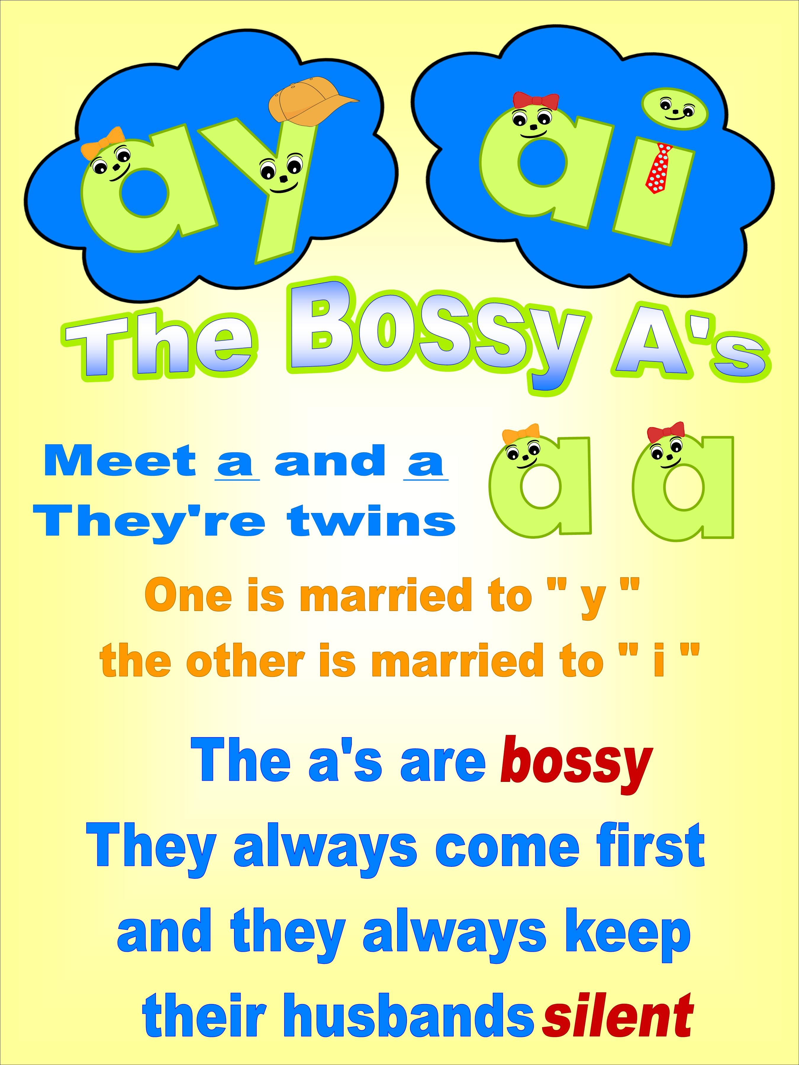 The Bossy a's \ai\ and \ay\ order rule   Phonics words [ 3600 x 2700 Pixel ]