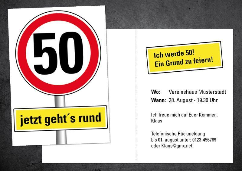 Einladung Zum 50 Geburtstag Selbst Gestalten Einladung
