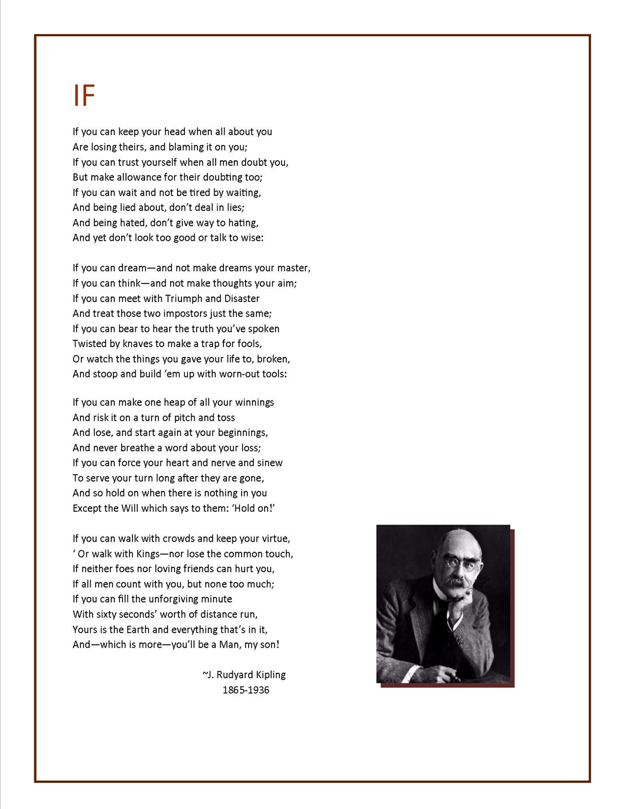 an analysis of if and the thousand man by rudyard kipling The white man's burden by rudyard kipling let me rephrase your analysis one more time just to make sure that you are not as thick a racist as mr.