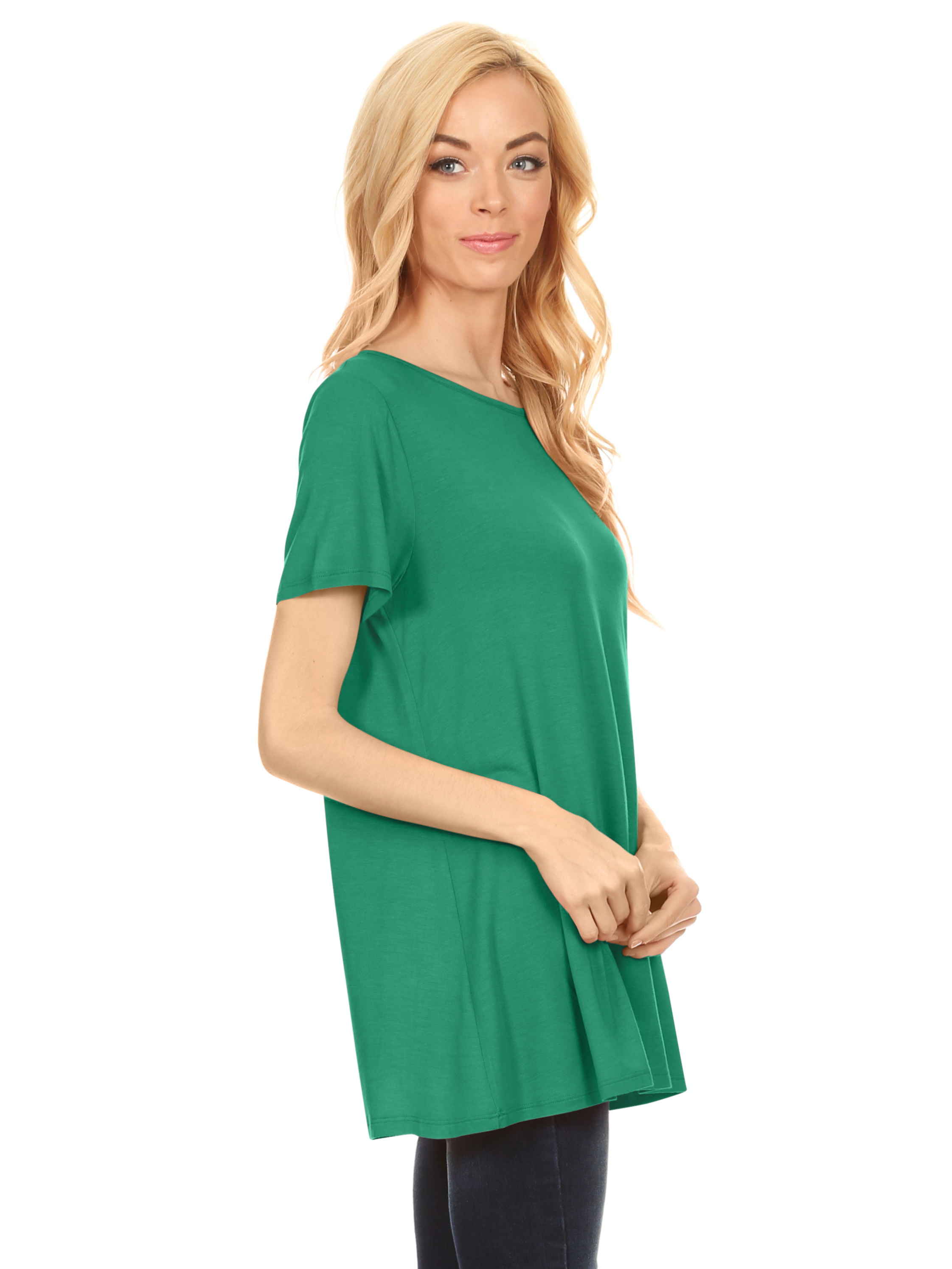3257b79fd33683 Short Sleeve Flowy Tunic Tops for Women a Line Flared Loose Fit Swing Top -  USA