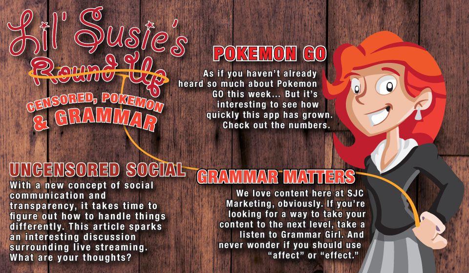 Lil' Susie's Round Up: Censored, Pokémon & Grammar. http://susanjcampbell.com/lil-susies-round-censored-pokemon-grammar/
