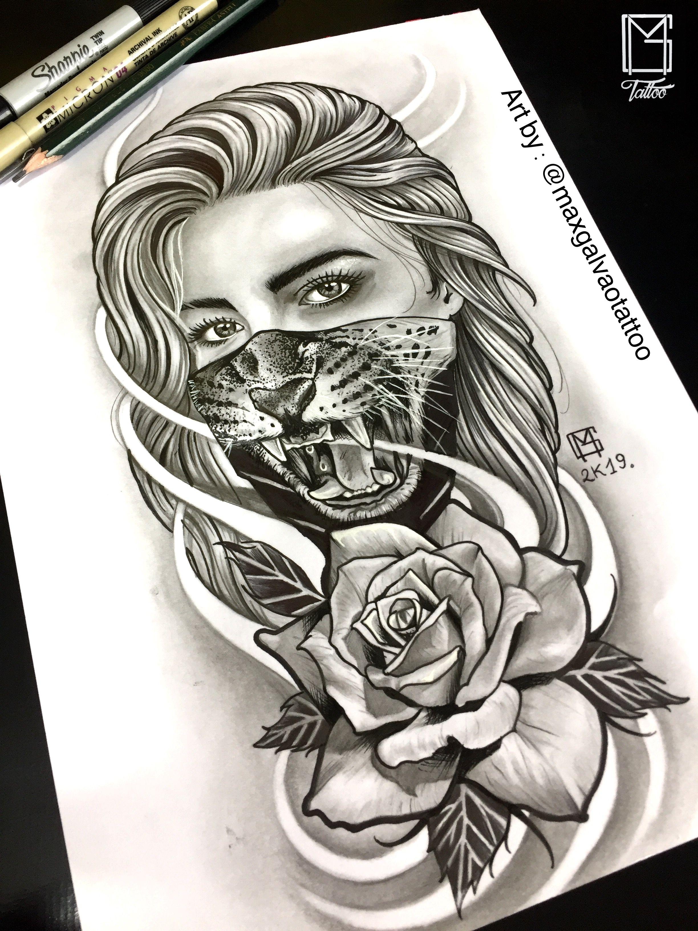 Maskgirl Tattoo Art By Maxgalvaotattoo Follow Me Chicano Tattoo Tattoo Ideias Clown Catrinatattoo Gangstagirl Ideias De Tatuagens Tatuagem Tatuagens