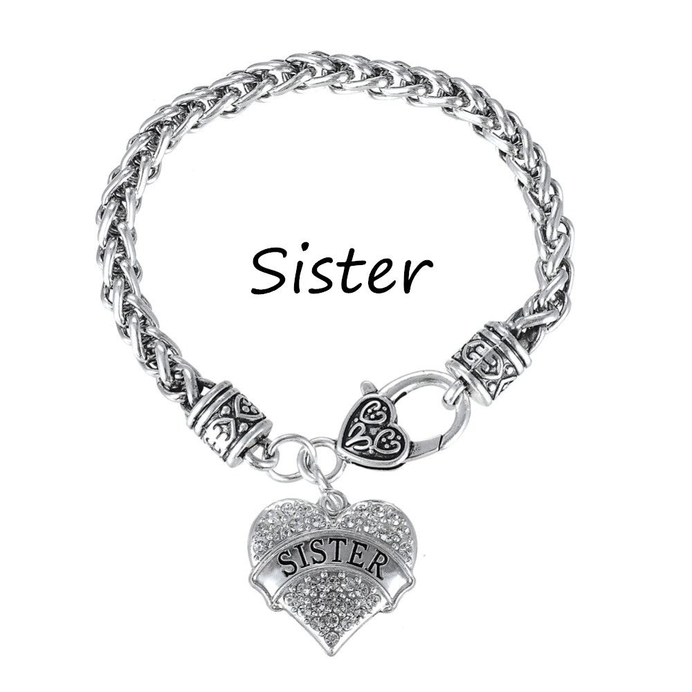Pcs myshape wholesale silver plated crystal heart sister bracelets