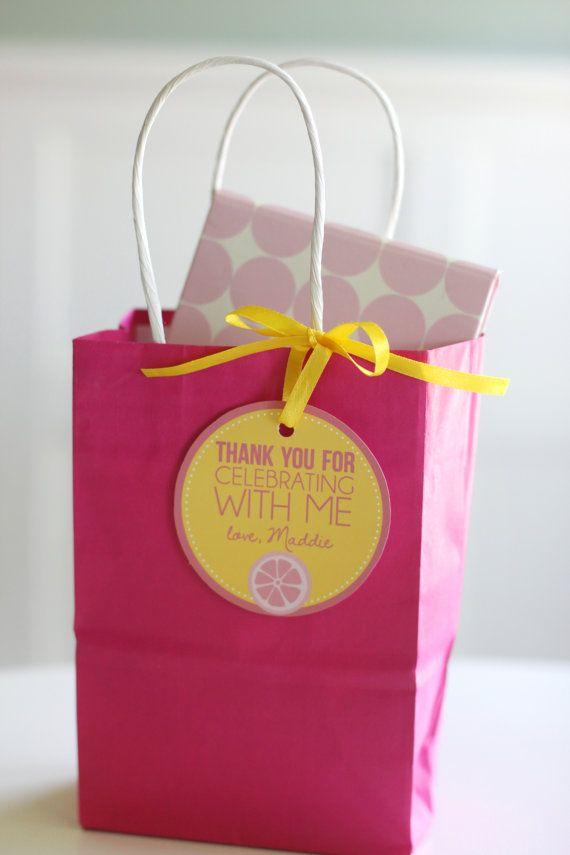 graphic relating to Printable Gift Bags titled Reward bag labels - Bash desire labels - Solar and Lemonade