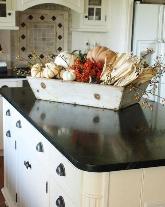 Holzschale Trockenblumen Herbst Dekoration Ideen Im Kuchen Interieur