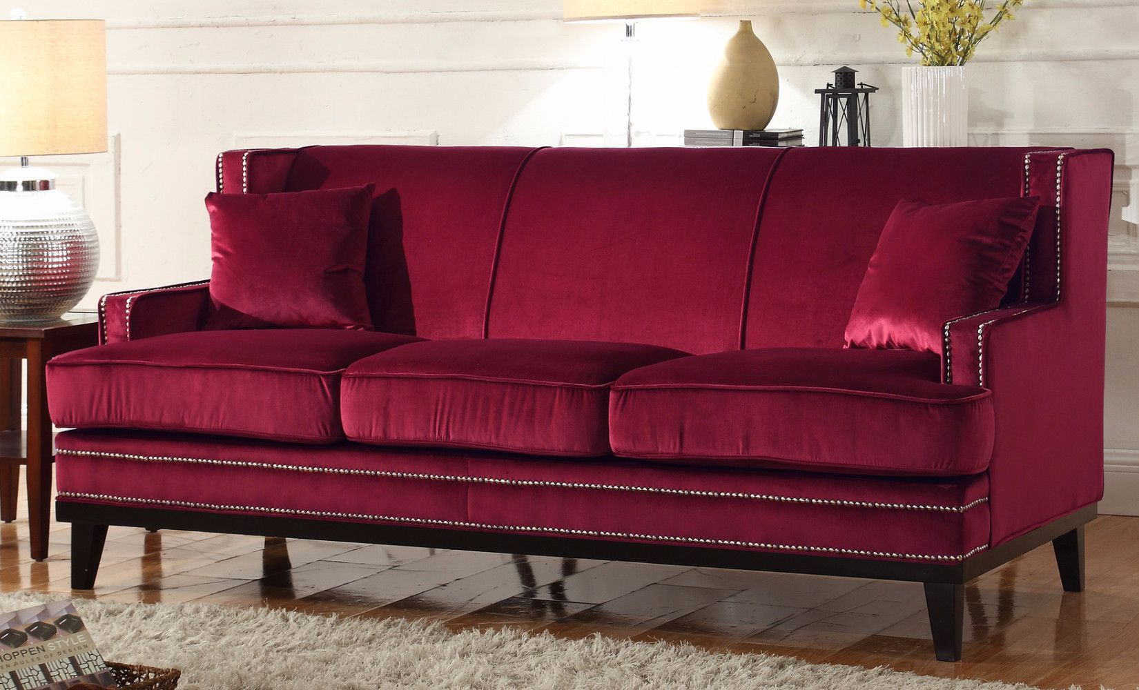 Contemporary Sofa With Wood Trim Sure Fit Stretch Suede Slipcover Modern Soft Velvet Nailhead Details Red