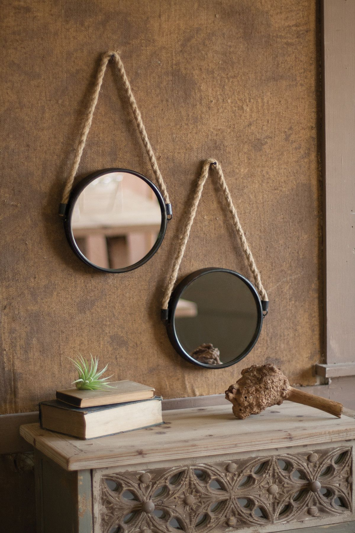 Accent mirror with metal frame and rope hanger rope
