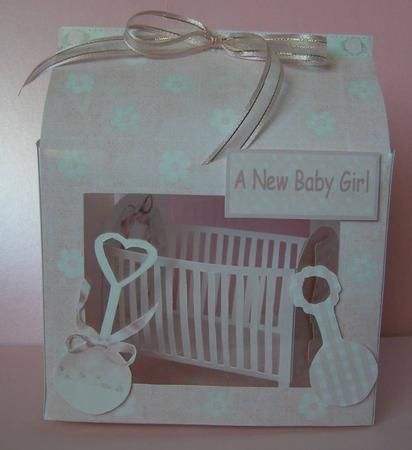 Card Gallery - New baby girl keepsake mini cot kit w gift box-pretty floral