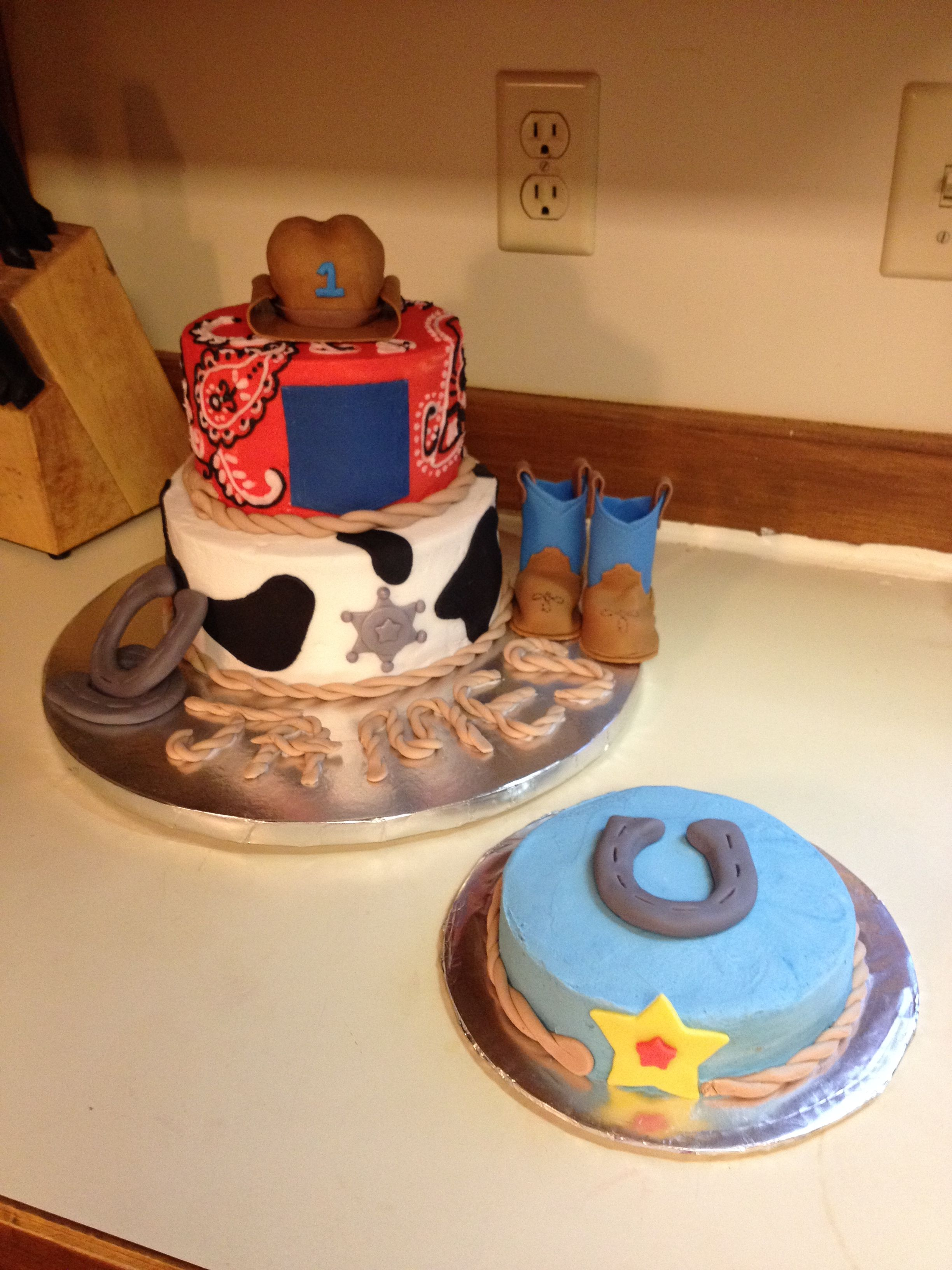 Cowboy themed first birthday cake with smash cake 1st birthday boy
