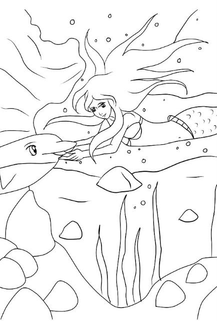 ausmalbilder meerjungfrau mit delfin  best trend design