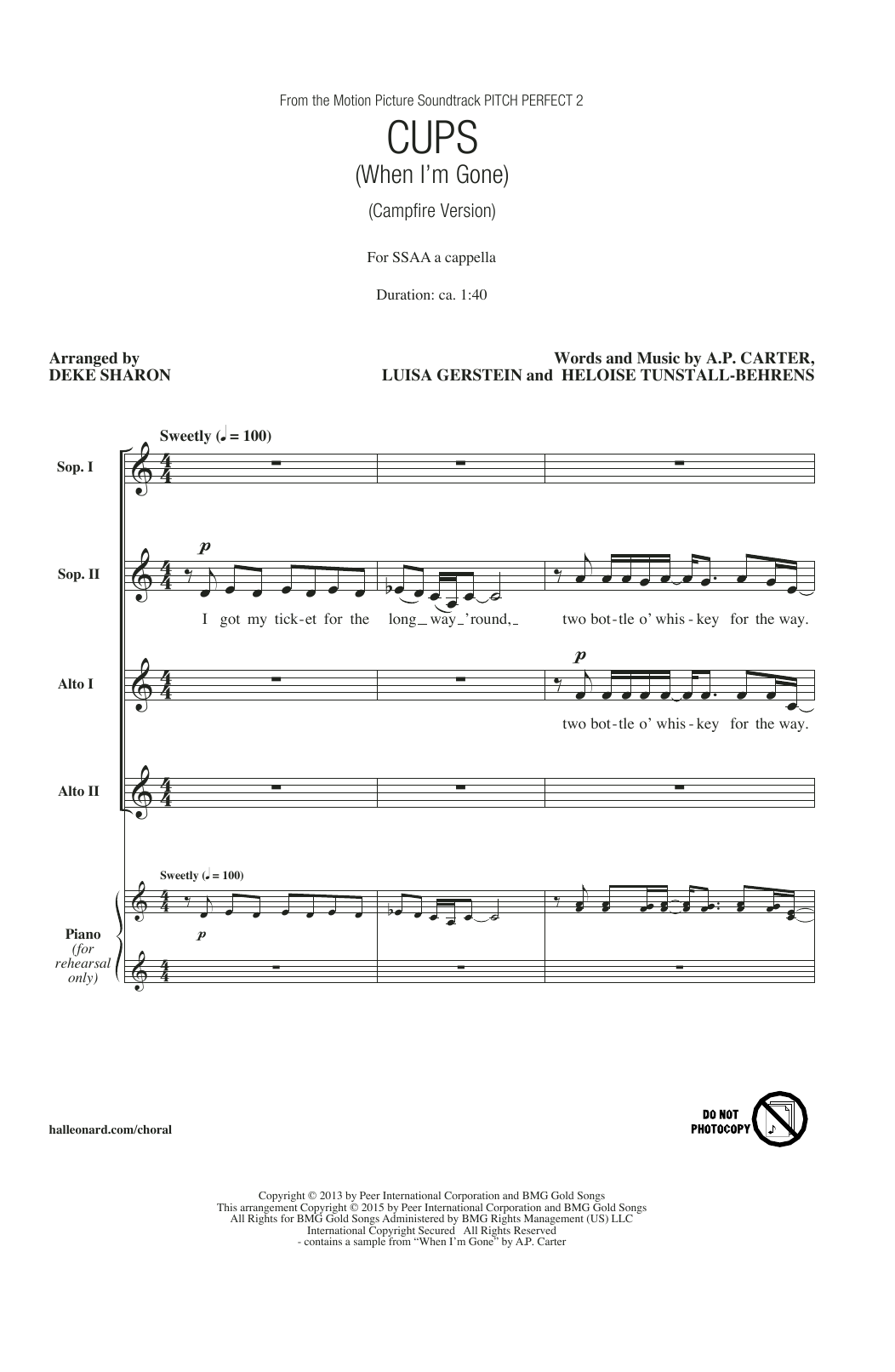 Cups when im gone arr deke sharon sheet music songs to songs hexwebz Image collections