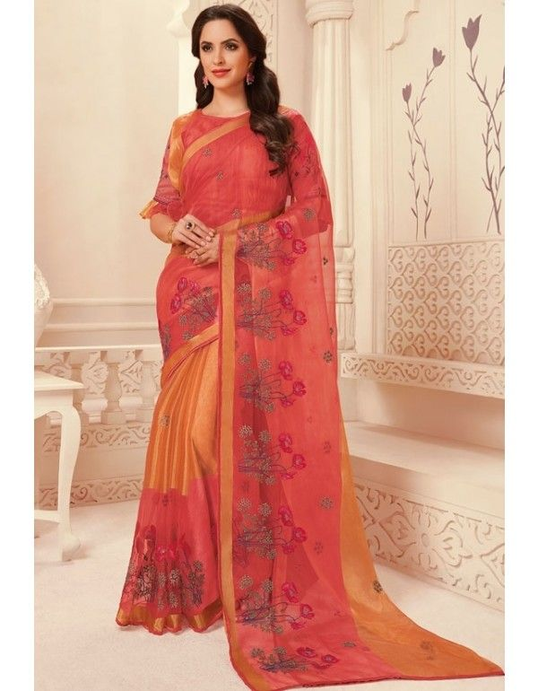 4ce8e27350e727 Salmon Pink and Orange Embroidered Brasso Saree in 2019