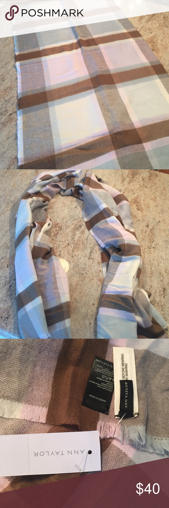 Nwt Blanket Scarf Light Pink Mint And Brown Blanket Scarf Beyond Cozy Ann Taylor Accessories Scarves Wra Blanket Scarf Reusable Tote Bags Scarf Accessory