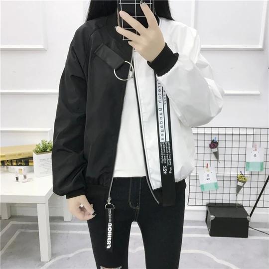 Plus Size Baseball Jacket Patchwork Korean Style Streetwear Oversize Coat Long Sleeved Zipper Harajuku Woman Overcoat Oversized Coat Jackets Korean Fashion