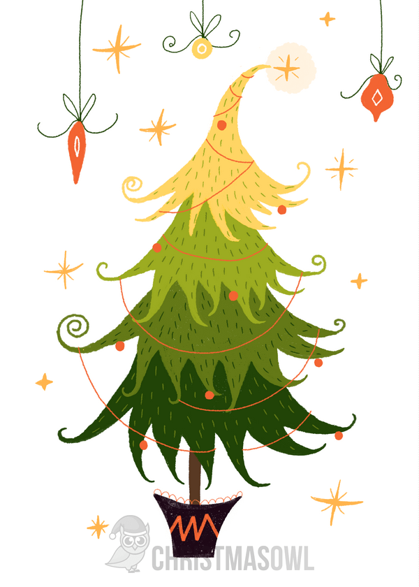 Free printable Christmas card featuring a Christmas tree and other ...