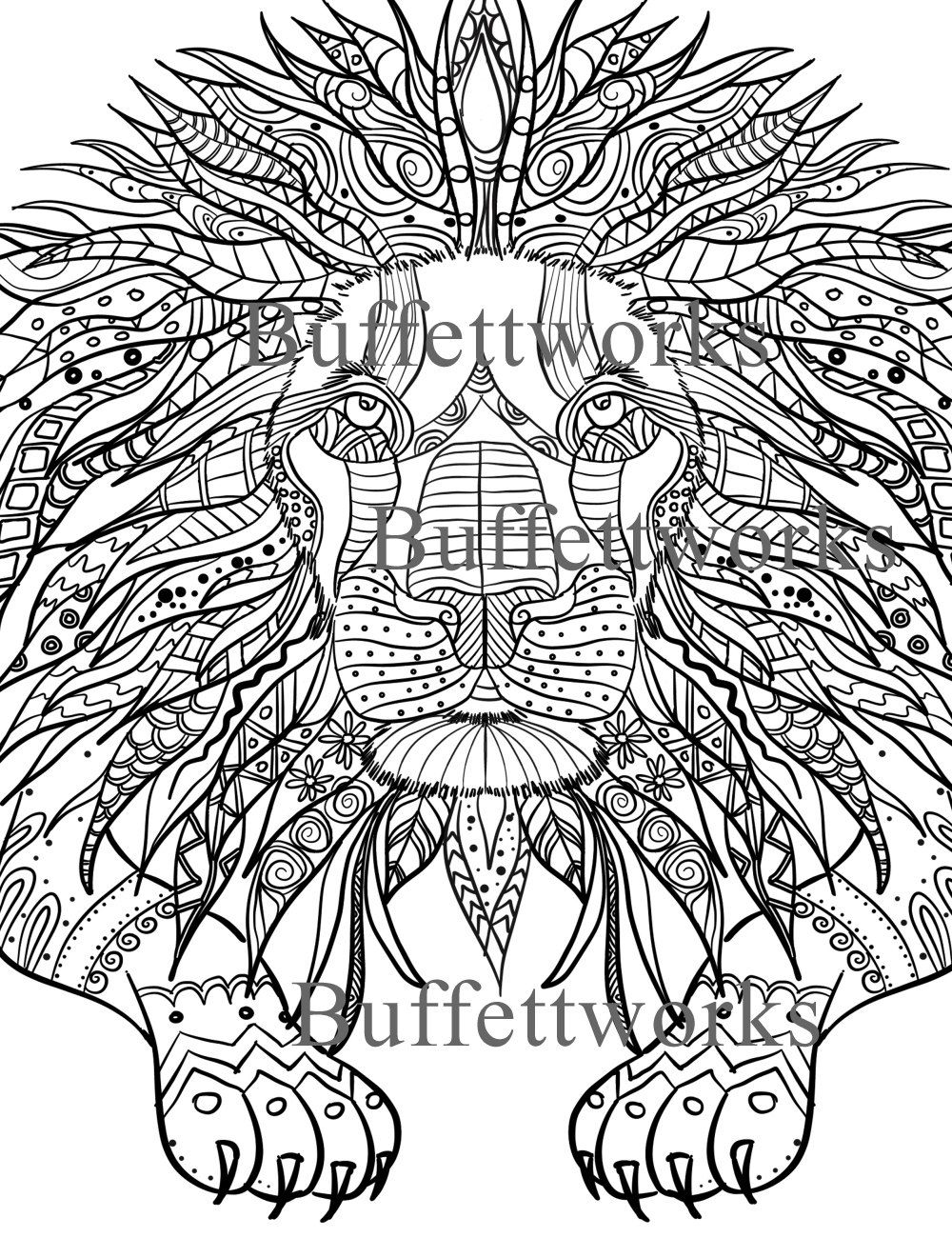 coloring page lion a downloadable pdf by buffettworks