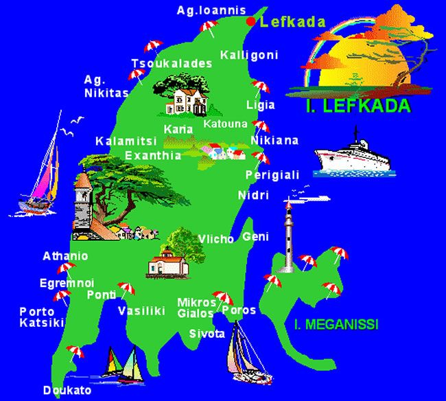 Best Places Lefkada On Map Google Zoeken Lefkada Greece Map