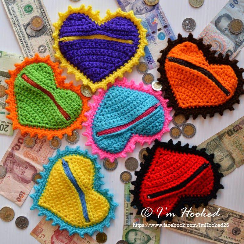 Corazón monedero crochet Pinterest Monederos, Tejido y Bolsos