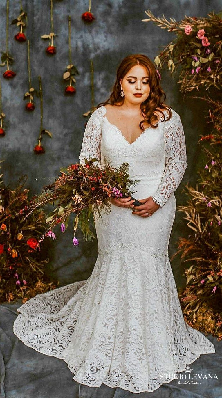 Plus Size Mermaid Boho Lace Wedding Dress With Off Shoulder Lace Sleeves Lida Studio Levan Boho Wedding Dress Lace Plus Wedding Dresses Classic Wedding Dress