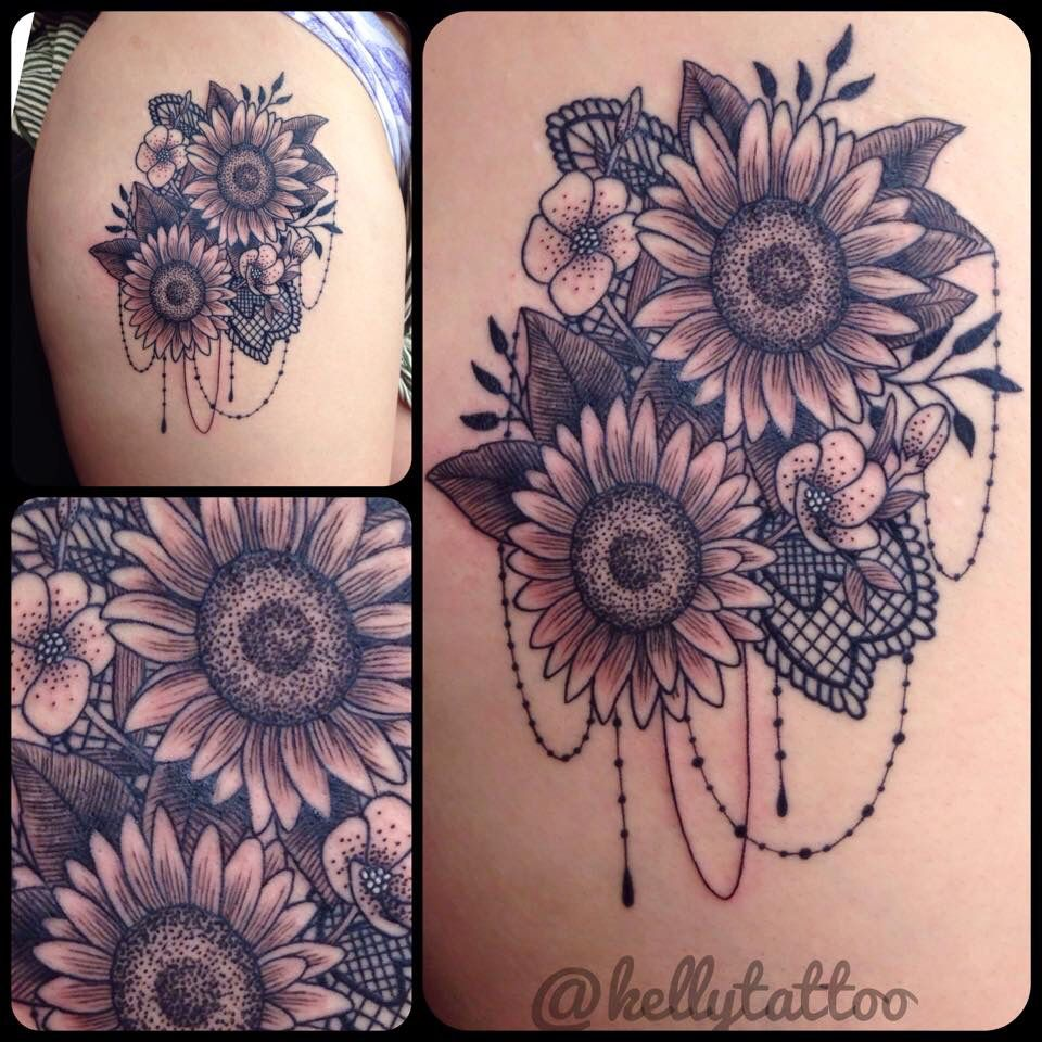 My Sunflower Lace Thigh Tattoo From The Talented Kellytattoo Sunflowers Lace Tattoo Originalkellytattoo Jma Lace Thigh Tattoos Thigh Tattoo Lace Tattoo