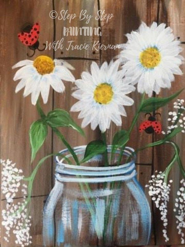 How To Paint Daisies In A Jar – Step By Step Painting