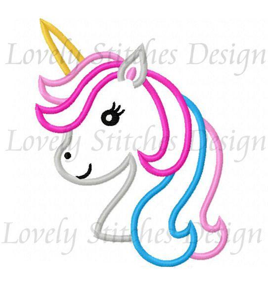 Unicorn Head Applique Machine Embroidery Design NO:0614 | Animals ...