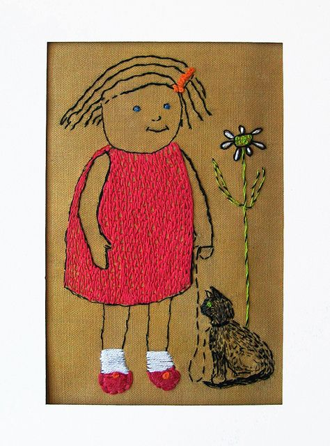 Embroidered Girl with Cat