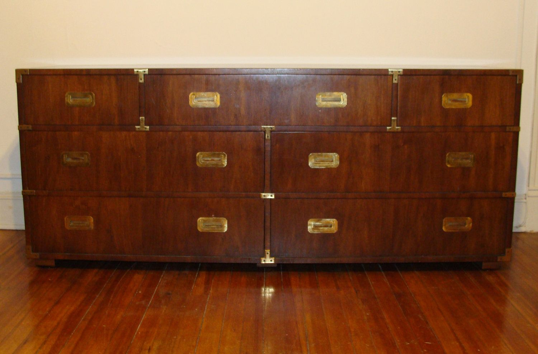 The Iconic Henredon Campaign Chest 7 Drawer All Original 6 Ft Vintage Dresser Hollywood Regency Sideboard