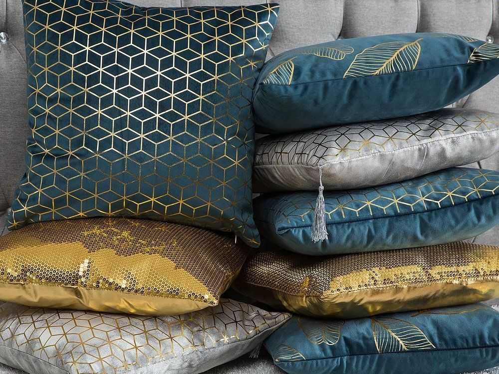 Cuscini 45 X 45.Cuscino Decorativo In Velluto Motivo Geometrico 45 X 45 Cm Blu
